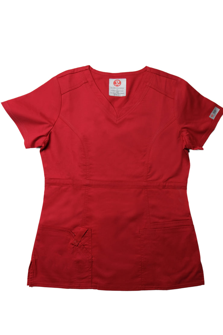The Contemporary Fitted Curved V-Neck - Red - Rhino Scrubletix Style 3