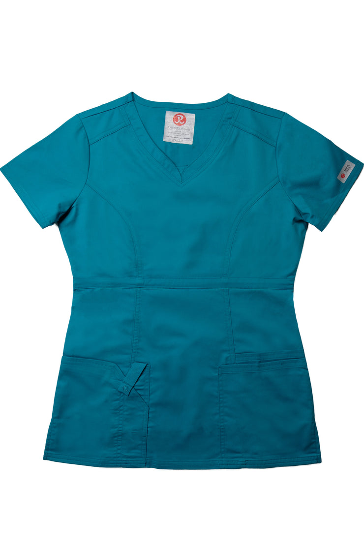The Contemporary Fitted Curved V-Neck Scrub Top - Teal - Rhino Scrubletix Style 3