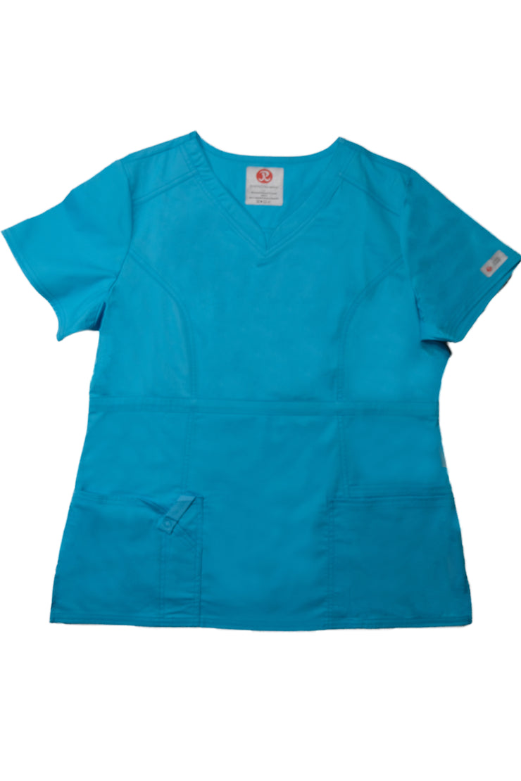 The Contemporary Fitted Curved V-Neck Scrub Top - Sky Blue - Rhino Scrubletix Style 3