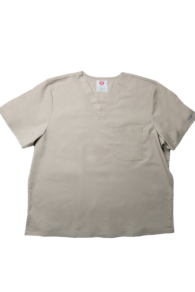 The Men's Polished V-Neck Scrub Top - Beige - Rhino Scrubletix Style 5