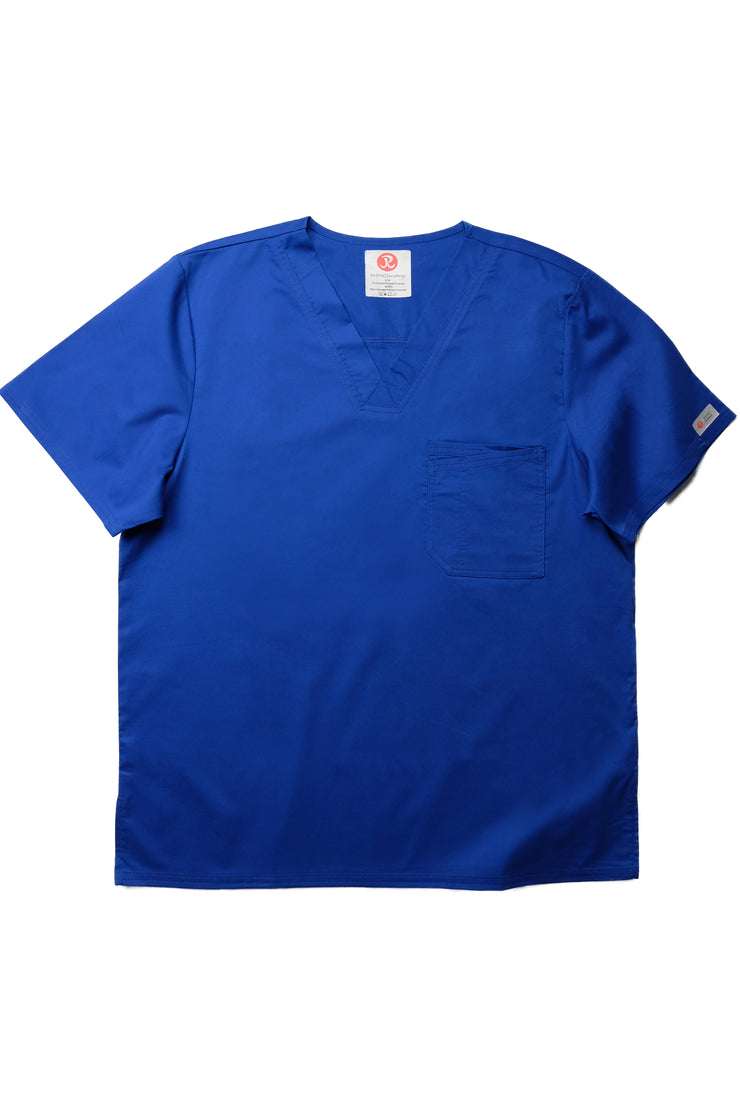 The Men's Polished V-Neck Scrub Top - Indigo - Rhino Scrubletix Style 5