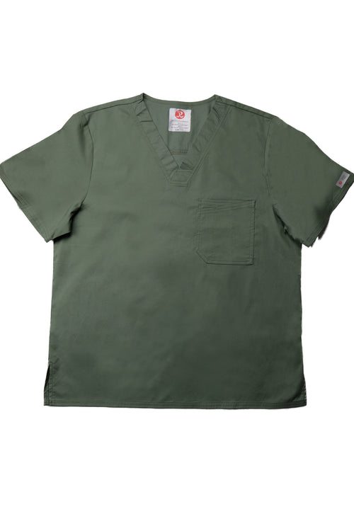 The Men's Polished V-Neck Scrub Top - Olive - Rhino Scrubletix Style 5