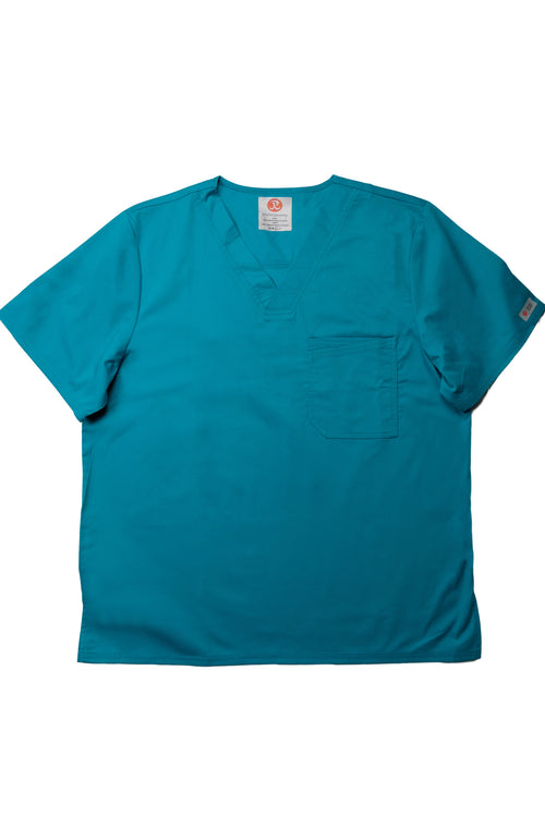 The Men's Polished V-Neck Scrub Top - Teal - Rhino Scrubletix Style 5