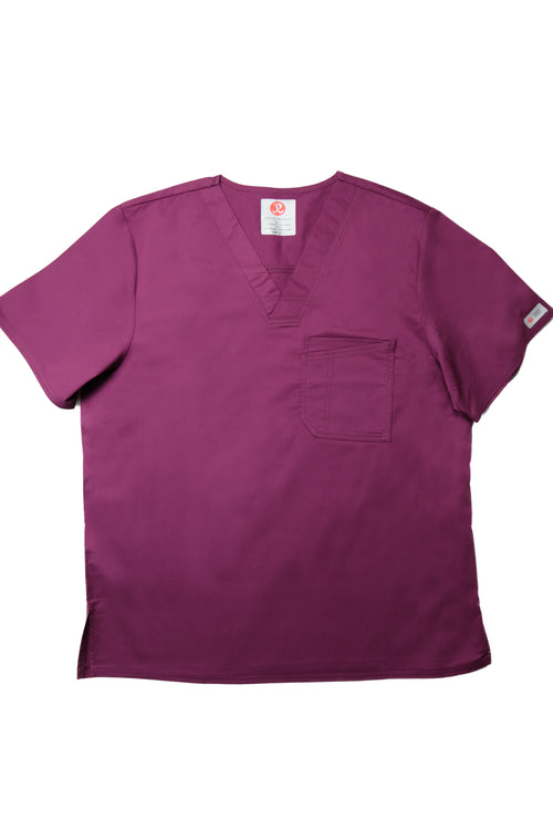 The Men's Polished V-Neck Scrub Top - Wine - Rhino Scrubletix Style 5