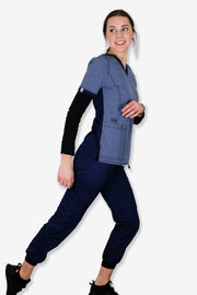Rhino scrubs navy joggers pants product view girl modelling