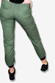 Rhino scrubs olive joggers pants model from back