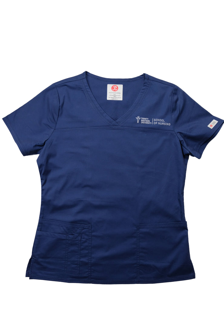 TWU Pre-Embroidered Tailored V-Neck Scrub Top - Navy - Rhino Scrubletix Style 1