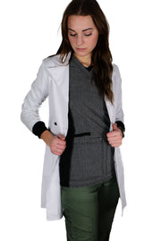 White Lab Coat Mid Length - Rhino Scrubs