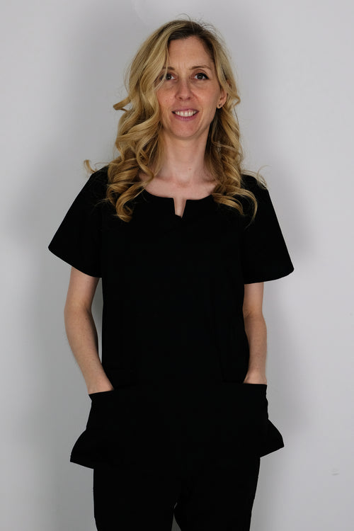 The Curved V-Slit Neckline Scrub Top - Black - Rhino Scrubletix Style 4