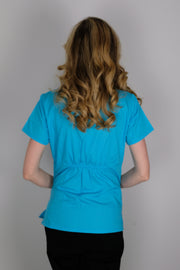 The Curved V-Slit Neckline Scrub Top - Sky Blue - Rhino Scrubletix Style 4