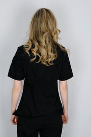 The Crossover Curved Scoop V-Neck Scrub Top - Black - Rhino Scrubletix Style 6
