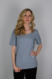 The Crossover Curved Scoop V-Neck Scrub Top - Light Grey - Rhino Scrubletix Style 6