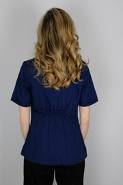 The Crossover Curved Scoop V-Neck Scrub Top - Navy - Rhino Scrubletix Style 6
