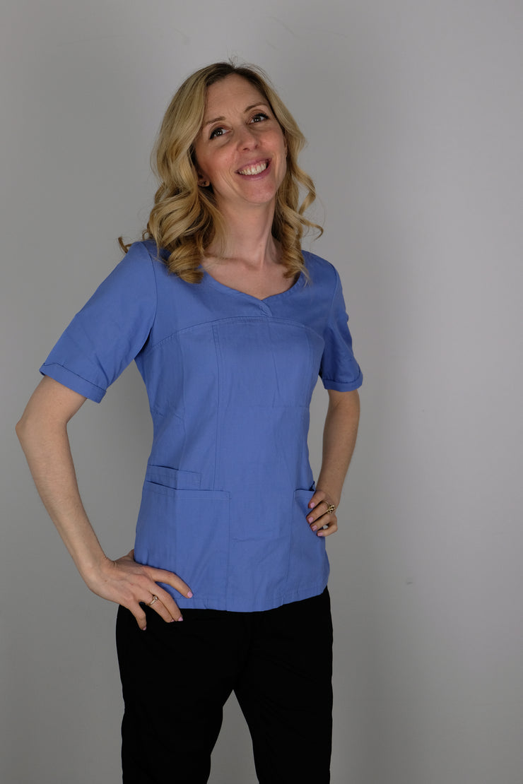 The Crossover Curved Scoop V-Neck Scrub Top - Periwinkle - Rhino Scrubletix Style 6