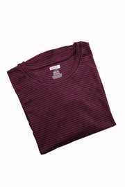 The Luxe Ultra Soft Long-sleeve Under Scrub Top - Maroon/Blue Stripe - Rhino Scrubs