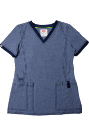 The Sporty Contrast Premium Flex V-Neck Scrub Top - Slate Blue - Rhino Scrubletix Style 15