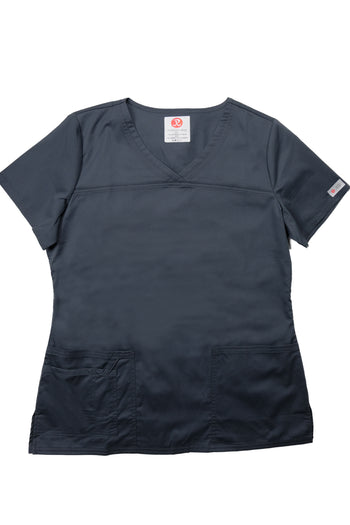 The Tailored V-Neck Scrub Top - Charcoal - Rhino Scrubletix Style 1