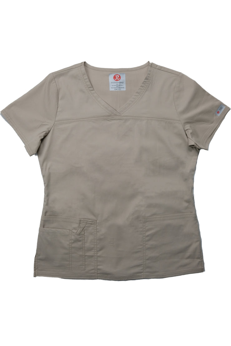 The Tailored V-Neck Scrub Top - Beige - Rhino Scrubletix Style 1