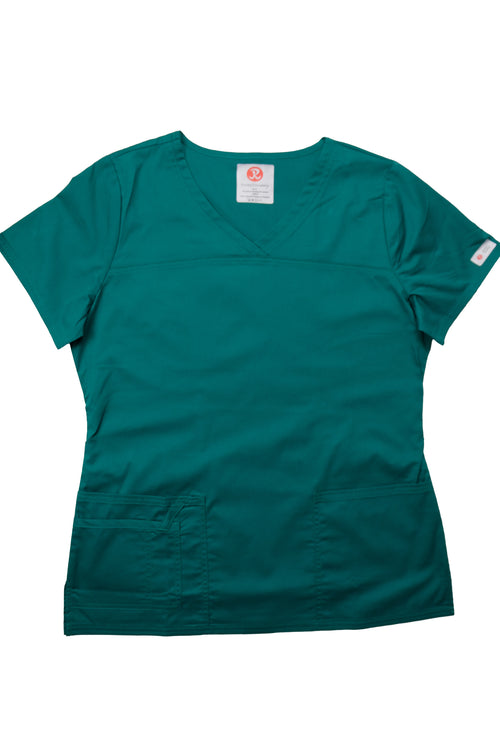 The Tailored V-Neck Scrub Top - Forest Green - Rhino Scrubletix Style 1