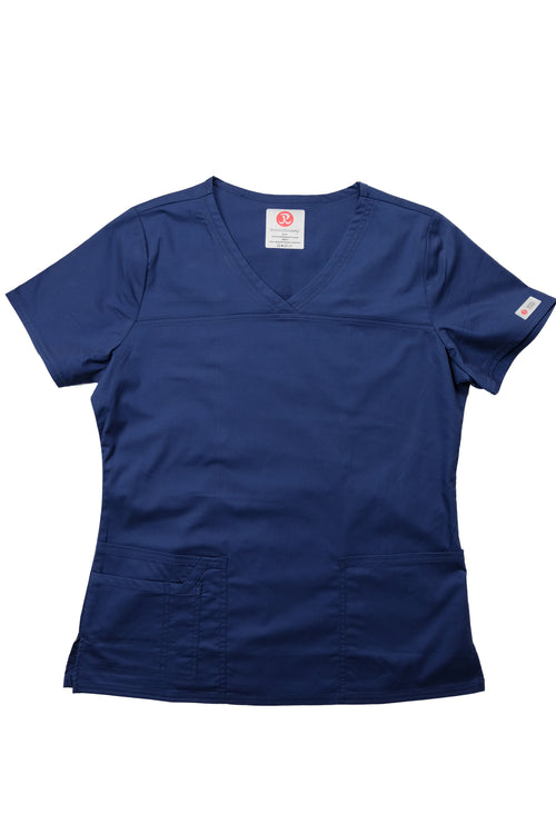 The Tailored V-Neck Scrub Top - Navy - Rhino Scrubletix Style 1