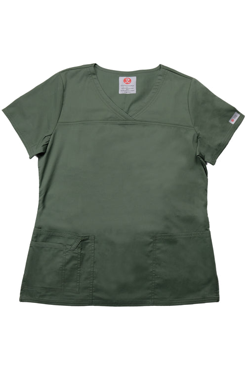The Tailored V-Neck Scrub Top - Olive - Rhino Scrubletix Style 1