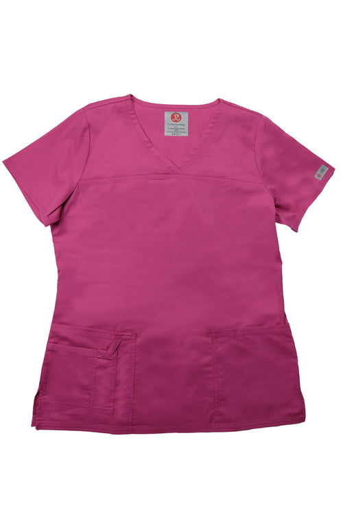 The Tailored V-Neck Scrub Top - Pink - Rhino Scrubletix Style 1