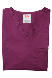 The Unisex V-Neck Scrub Top - Wine - Rhino Scrubletix Style 2
