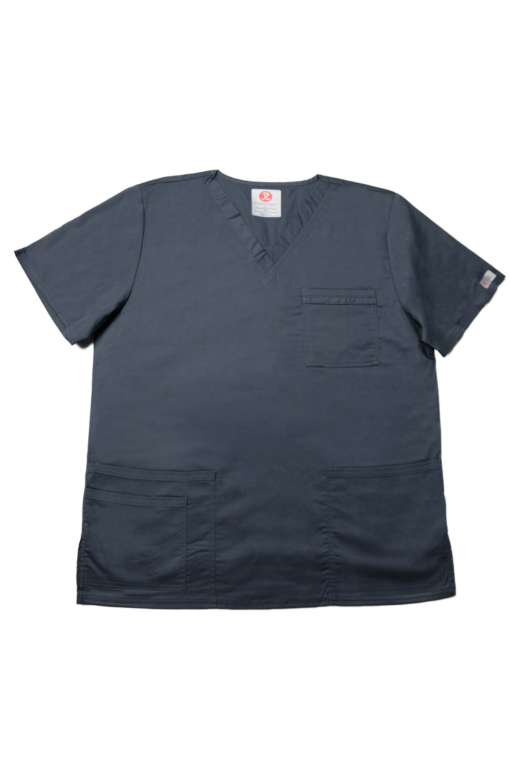 The Unisex V-Neck Scrub Top - Charcoal - Rhino Scrubletix Style 2