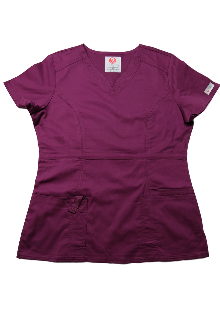 The Contemporary Fitted Curved V-Neck - Wine - Rhino Scrubletix Style 3