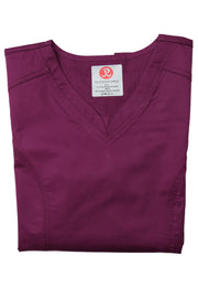 The Contemporary Fitted Curved V-Neck Scrub Top - Wine - Rhino Scrubletix Style 3