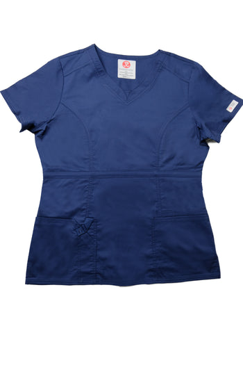The Contemporary Fitted Curved V-Neck Scrub Top - Navy - Rhino Scrubletix Style 3