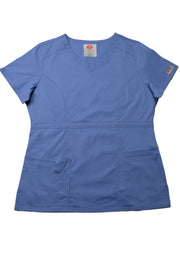 The Contemporary Fitted Curved V-Neck Scrub Top - Periwinkle - Rhino Scrubletix Style 3