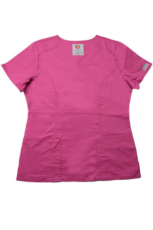 The Contemporary Fitted Curved V-Neck Scrub Top - Pink - Rhino Scrubletix Style 3