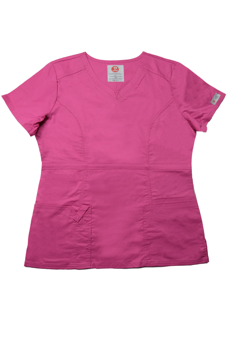 The Contemporary Fitted Curved V-Neck - Pink - Rhino Scrubletix Style 3
