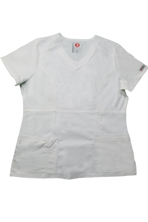 The Contemporary Fitted Curved V-Neck Scrub Top - White - Rhino Scrubletix Style 3