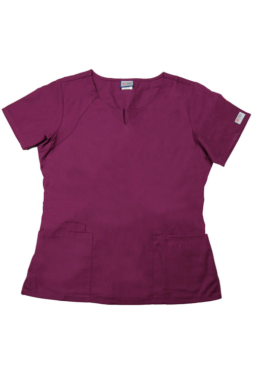 The Curved V-Slit Neckline Scrub Top - Wine - Rhino Scrubletix Style 4