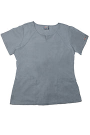 The Curved V-Slit Neckline Scrub Top - Light Grey - Rhino Scrubletix Style 4