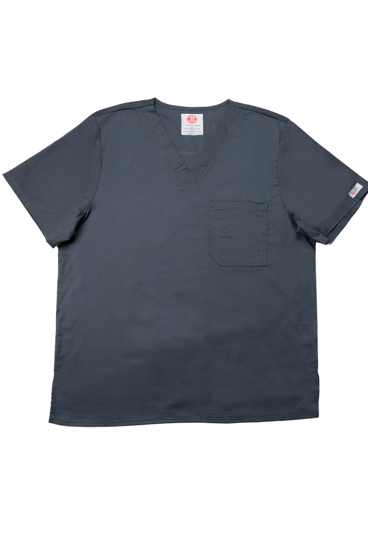 The Men's Polished V-Neck Scrub Top - Charcoal - Rhino Scrubletix Style 5