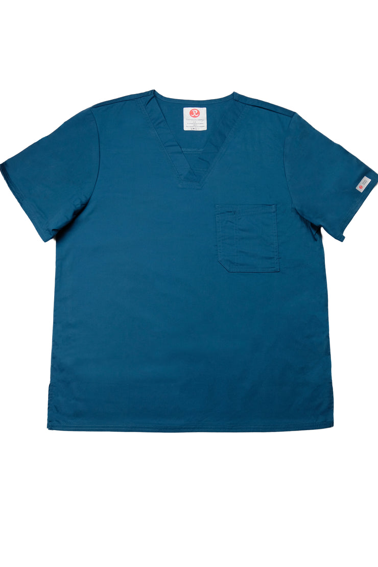 The Men's Polished V-Neck Scrub Top - Caribbean Deep Teal - Rhino Scrubletix Style 5