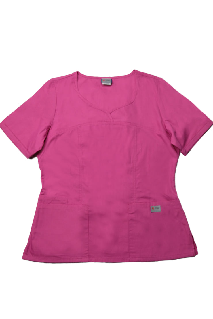 The Crossover Curved Scoop V-Neck Scrub Top - Pink - Rhino Scrubletix Style 6