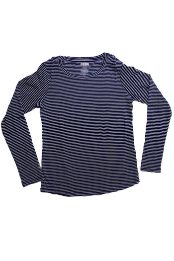 The Luxe Ultra Soft Long-sleeve Under Scrub Top - Navy/White Stripe - Rhino Scrubs