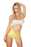 Roma Strapless Cutout White & Yellow Mermaid Romper