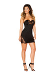 Roma Short Dress with Eyelash Lace Panels