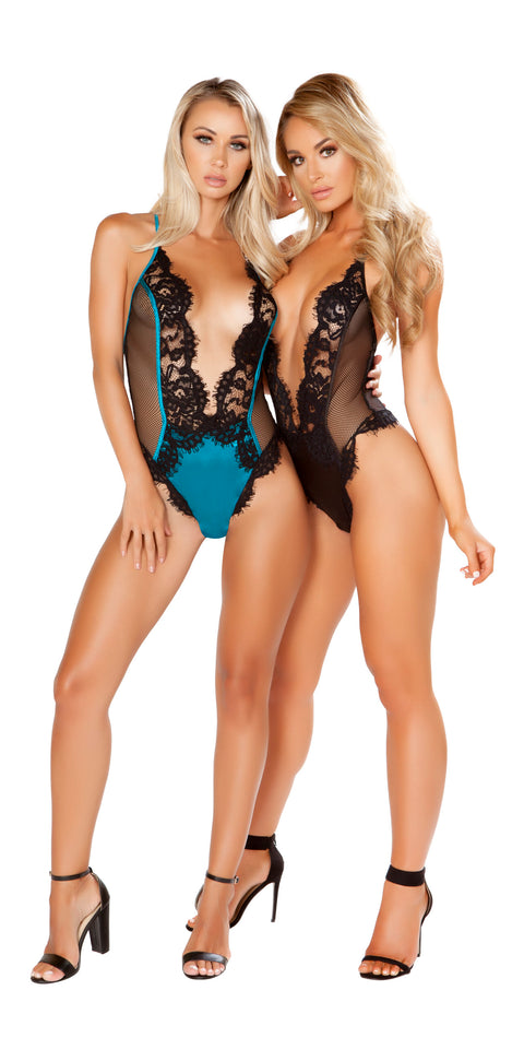 Roma One Piece V-Shaped Eyelash Lace & Satin Teddy with Snap Bottom