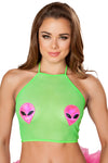 Roma Lime Sheer Top With Alien Heads