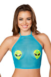 Roma Turquoise Sheer Top With Alien Heads
