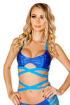 J-Valentine Metallic Keyhole Blue Wrap Top