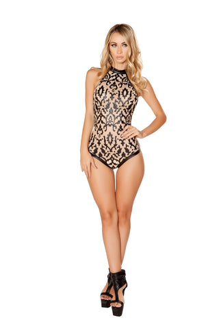J-Valentine Nude Leather Applique Bodysuit