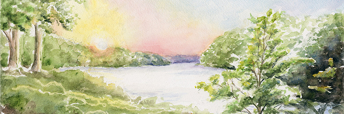 Sunset River James River Watercolor Painting