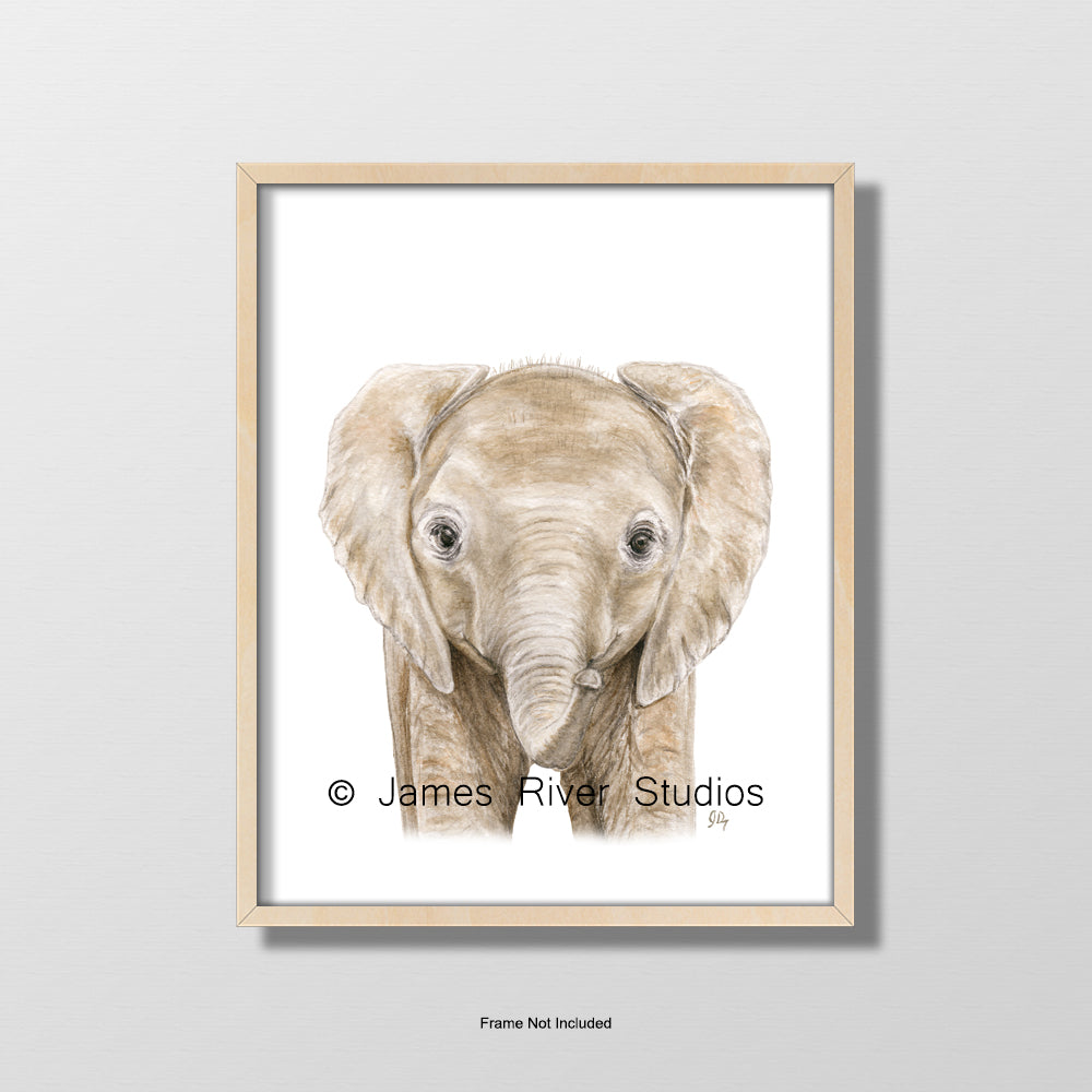 baby elephant portrait nursery playroom art wall decor